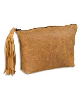 Fourre-tout plat 17 x 14 x 1 cm en cuir vintage - Elba®