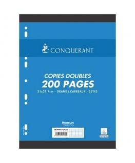 Lot de 200 feuilles de copies doubles perforées blanches A4 Seyès 70g - Conquérant 7 by Hamelin