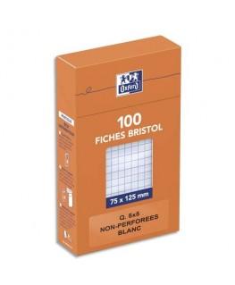 Boîte de 100 fiches bristol 7.5 x 12.5 cm petits carreaux 5x5 blanc non perforées - Oxford