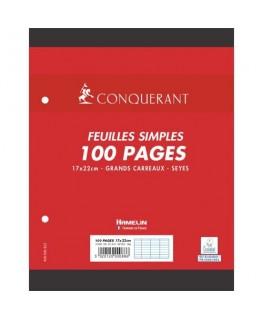 Lot de 100 feuilles mobiles 17 x 22 cm Seyès blancs papier 90g NF 88 - Conquérant by Hamelin