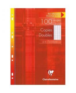Etui carton de 100 feuilles de copies doubles perforées blanche A4 Seyès 90g - Clairefontaine