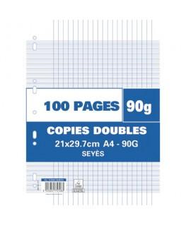 Sachet de 100 feuilles de copies doubles perforées 90g Seyès 21 x 29.7 cm. Perforation pour classeur A4