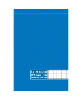 Bloc 60g agrafé en tête 200 pages quadrillées 5x5 A6 10.5 x 14.8 cm