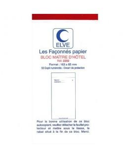 Bloc Maître d'Hôtel 50 feuillets 75 x 150 mm 50/2 autocopiant - Elve