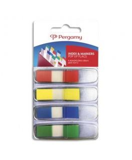 Set de 4 x 35 index marque-pages étroits 1.1 x 4.3 cm coloris assortis classiques - Pergamy