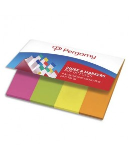 Set de 4 x 50 index marque-pages standard 2 x 3.8 cm papier coloris assortis néon - Pergamy