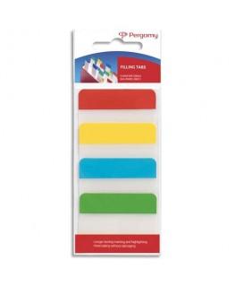 Blister de 4 x 24 index marque-pages larges 3.8 x 5.1 cm rigides coloris assortis classiques - Pergamy