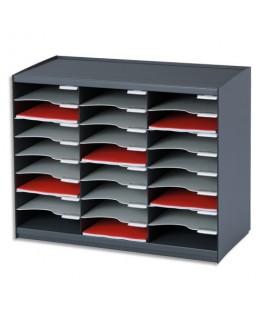 Trieur 24 cases noir gris pour document A4 - Paperflow