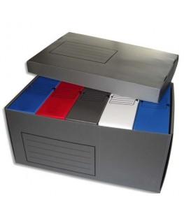 Lot de 5 boîtes archives dos 10 cm polypropylène assortis + 1 conteneur polypropylène gris