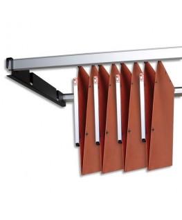 Kit de 2 rails métal gris avec support noir pour dossiers suspendus armoire - L'Oblique AZ By Oxford