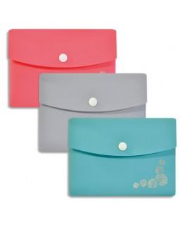 Pochette-enveloppe PASTEL 12 x 16 cm en polypropylène assortis 3 couleurs - Elba®