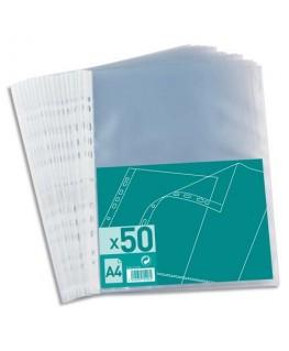 Sachet de 50 pochettes perforées en polypropylène 4/100e A4