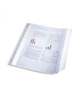 Sachet de 10 pochettes perforées rabat latéral transparent