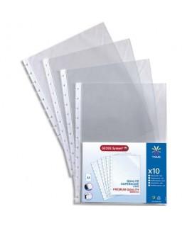 Sachet de 10 pochettes perforées à ouverture haut pour reliure Géode Méteor polypropylène 6.5/100e - Viquel