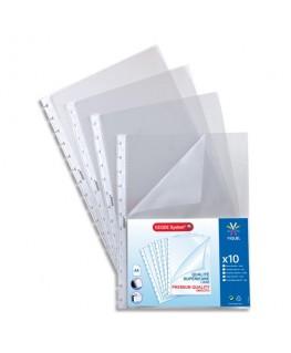 Sachet de 10 pochettes perforées à ouverture coin pour reliure Maxi-Géode polypropylène 8/100e - Viquel