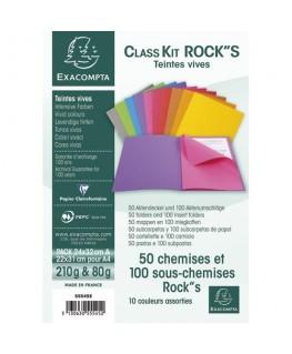 Paquet de 50 chemises et 100 sous chemises Rock's en carte 220g et 80g