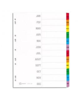 Jeu d'intercalaires mensuel 12 touches Mylar® en carte blanche