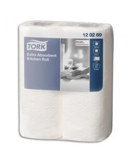 Lot de 2 rouleaux essuie-tout Premium Extra absorbant gaufré 2 plis 64 formats 23 x 25 cm - Tork®