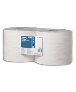 Lot de 2 bobines papier d'essuyage Basic blanc dévidage central 2 plis