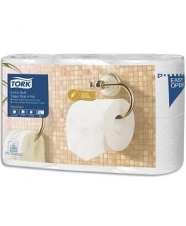 Colis de 6 rouleaux papier toilette Traditionnel Extra doux Premium 4 plis 153 feuilles Ecolabel - Tork®