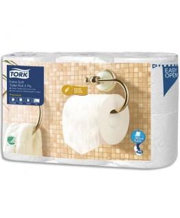 Colis de 6 rouleaux papier toilette Premium Aquatube 3 plis blanc 170 feuilles Ecolabel - Tork®