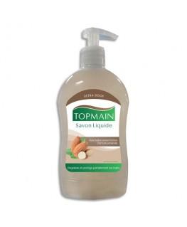 Flacon pompe 500 ml savon liquide doux aux huiles essentielles pour mains et corps parfum Amandes - Topmain