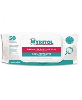 Paquet de 50 lingettes désinfectantes multi-usages à l'essence de Niaouli - 20 x 18 cm - Wyritol