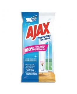 Pochette de 40 lingettes jetables triple action pour les vitres - Ajax