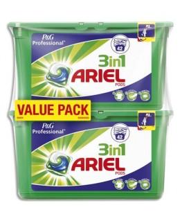 Lot de 2 boîtes de 42 doses de lessive liquide concentrée 3 en 1 Pods parfum régulier - Ariel