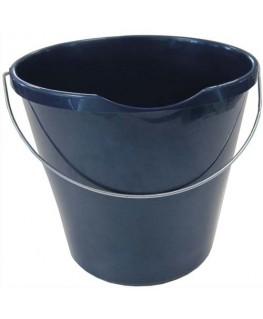 Seau rond bleu en polypropylène capacité 12 Litres avec bec verseur et une anse en métal - Brosserie Thomas
