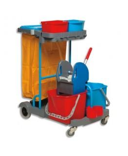 Chariot d'entretien Compact Gris en polypropylène + presse à mâchoires + 2 seaux 22L Rouge Bleu - Brosserie Thomas