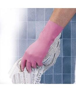 Lot de 10 paires de gants ménage en latex relief antidérapant intérieur coton L30 cm Taille 6 rose - MAPA® Professionnel