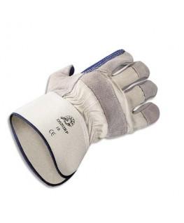 Lot de 12 paires de gants docker en croûte de cuir de bovin élastique de serrage Taille unique - Delta Plus