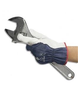 Lot de 12 paires de gants cuir pleine fleur d'agneau dos coton jersey serrage élastique Taille 10 - Delta Plus
