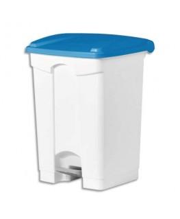Collecteur à pédale blanc couvercle bleu en polyéthylène 45 litres