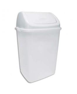 Poubelle à couvercle basculant blanche en polypropylène capacité 35 litres
