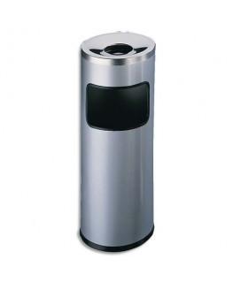 Corbeille à papier métal et cendrier étouffoir gris anthracite 17 + 2 litres