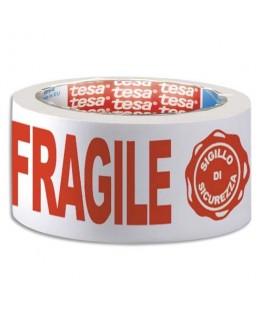 "Ruban adhésif polypropylène blanc imprimé rouge ""Fragile"" 48 microns"