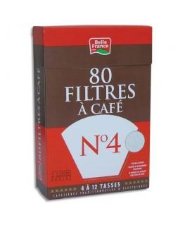 Boîte de 80 filtres à café n°4 + 1 sachet détartrant - Belle France