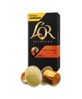 Boîte de 10 dosettes de 52g de café moulu gourmand 100% Arabica Espresso Delizioso n°5 - L'Or Espresso