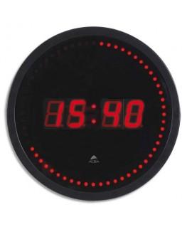 Horloge à led Horled cadre plastique noir lentille en verre D 30 cm affichage numérique rouge à quartz - Alba