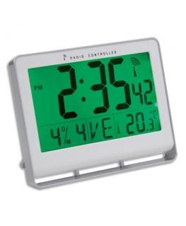 Horloge murale LCD multifonction radio-pilotée livrée 2 piles AAA fournies en ABS L20 x H15 cm blanc  - Alba
