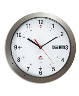 Horloge murale ronde gris anthracite diamètre 30 cm avec dateur - Alba