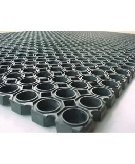 Tapis caillebotis noir en caoutchouc d'intérieur et d'extérieur 100 x 150 cm épaisseur 22 mm - Floortex®