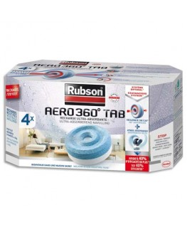 Boîte de 4 recharges Aero 360° pour absorbeur lutte contre l'humidité et les mauvaises odeurs - Rubson®