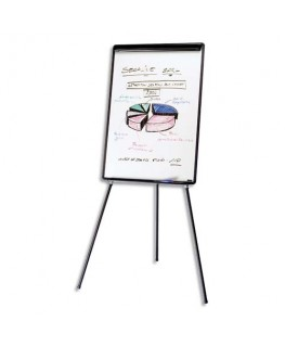 Chevalet de conférence mélaminé cadre PVC noir EURO avec porte-marqueurs et barrette pivotante - Bi-Office
