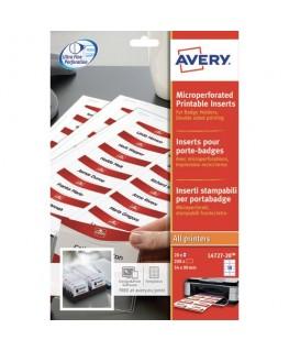 Boîte de 200 bristols micro-perforés 190/m2 en planche A4 pour badges 5.4 x 9 cm - Avery®