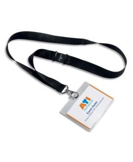 Pack de 5 kits porte-badges avec lacets noir en textile - Durable