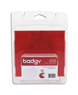 Lot de 100 de cartes Badgy PVC fines (20 mil - 0.50 mm) CBGC0020W - Evolis