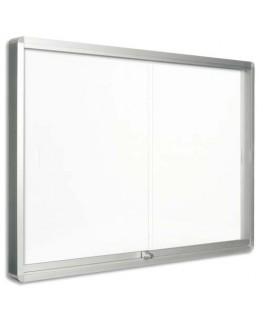Vitrine d'intérieur porte coulissante magnétique 8 x A4 coloris blanc - Bi-Office
